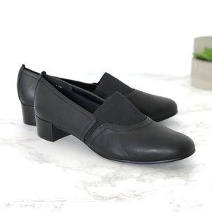 David Tate Gianna Black Leather Loafers Low heel